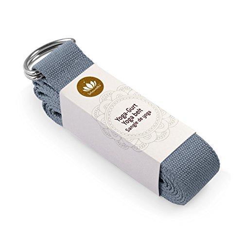 Lotuscrafts Yogagurt - 100% Baumwolle (kbA) - für bessere Dehnung - für Anfänger und Fortgeschrittene - Yoga Gurt mit Verschluss aus Metall [250 x...