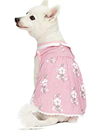 Blueberry Pet Wonderland - Vestido sin Mangas a Rayas Rosas con Cuello Peter Pan, Longitud