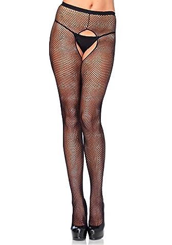 Leg Avenue 1404Q - Plus Größe Fischnetz Strümpfhosen Mit Offener Zwickel, Dessous Damen (2016 Plus Size Kostüme)
