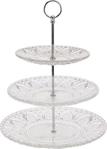 Glas Etagere 3-stöckig XXL - Tellergrößen 30, 25 und 20 cm - Höhe ca. 38 cm