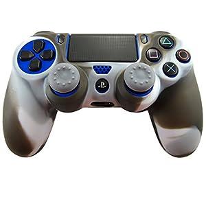 Pandaren® Silikon hülle skin Schutzhülle für PS4 controller (schwarz weiß) x 1 + thumb grip aufsätze x 2
