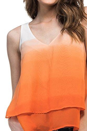 Salsa - Top en tissu effet dégradéà col en V - Orange