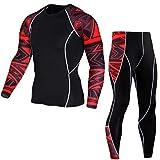 JEELINBORE Herren 2pcs Fitness-Bekleidungsset Langarmshirt Funktionsshirts Top & Leggings Jogginghose Slim Trainingshose (Rot Druck, CN L)
