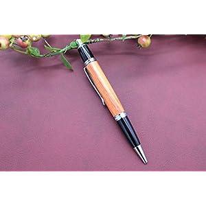 Edler Handgedrechselter Klick Kugelschreiber aus Holz Rosenholz Absolutes Unikat Kuli Schreibgerät