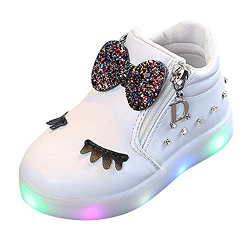 TPulling Mode Herbst Und Winter﹛12M-6T﹜Kinder Mädchen Jungen Warme Bogen Strass﹛LED Blinkende﹜Weichen Sportschuhe Turnschuhe Freizeitschuhe Beleuchtung Schuhe Kurze Stiefel (Weiß, EU:23)