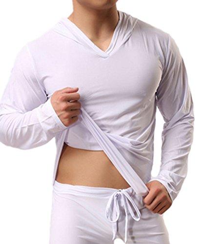 JWBBU® Yoga T-shirt à Manches Longues Sexy Doux et Soyeux pour Hommes Blanc (S)