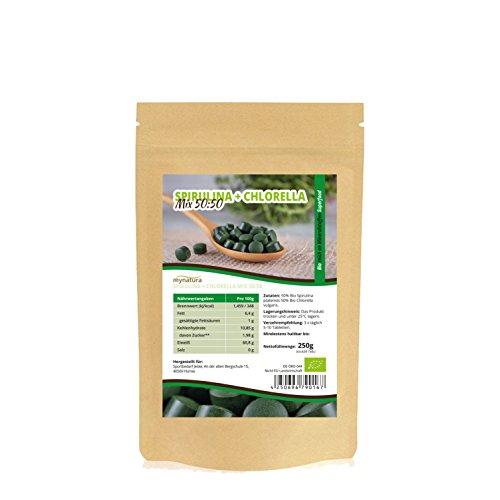 B-50-komplex 250 Tabletten (Mynatura Spirulina + Chlorella Bio Algen Superfood MIX 50/50 Tabletten in Rohkostqualität 250g)