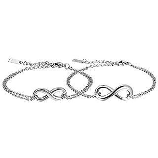 Oidea 2PCS Herren Damen Armband Fußkette, Charme Lieben Infinity Zeichen Armreif Fußkettchen Freundschaftsarmband Partnerschaftsfußkette, Edelstahl, Silber