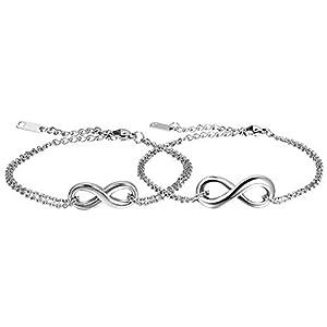 Oidea Damen Armband Fußkette, Charme Lieben Infinity Zeichen Armreif Fußkettchen Freundschaftsarmband Partnerschaftsfußkette, Edelstahl, Silber
