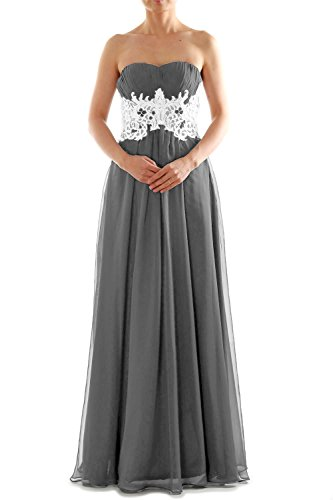 MACloth Womens Strapless Long Lace Chiffon Prom Dress Formal Party Ball Gown gray