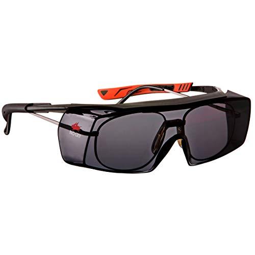 NoCry Getönte Sicherheits-Überbrille mit Kratzbeständigen Gläsern, Seitenschutz, Verstellbaren Bügeln, 400 UV-Schutz, schwarz roter Rahmen und EN166, EN170, EN172, EN175 Zertifiziert