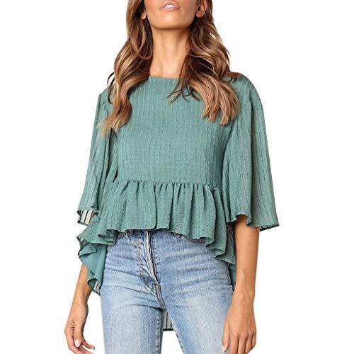 Zegeey Damen T-Shirt Rundhals Kurzarm Einfarbig Schicker Elegant LäSsige Sommer RüSchen Oberteil Blusen Shirts Pullover Tunika Hemd(A-Grün,EU-38/CN-M