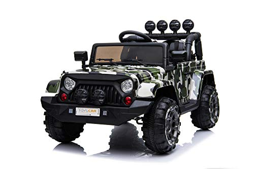Toyscar Auto Macchina Elettrica per Bambini Jeep Army 12V MP3 LED con Telecomando Full Optional