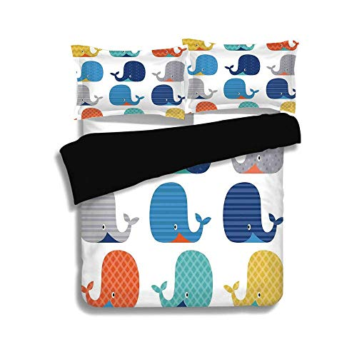LIS HOME Schwarzer Bettbezug-Set, Kinder, Fisch Meer nautisch lustige Bunte Wale in Streifen Dots geometrische Zickzack Chevron Print, dekorative 3 Stück Bettwäsche Set von 2 Kissen Shams, Twin Größe (Twin Bettwäsche Für Mädchen Chevron)