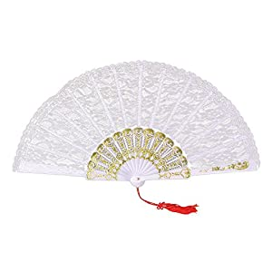 White Lace Hand Fan (accesorio de disfraz)