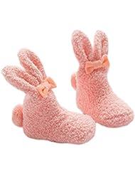 Fablcrew Chaussettes Bébé Chaussettes Design pour Lapins Enfants Mignons Chaussettes Roses épaississent des Chaussettes
