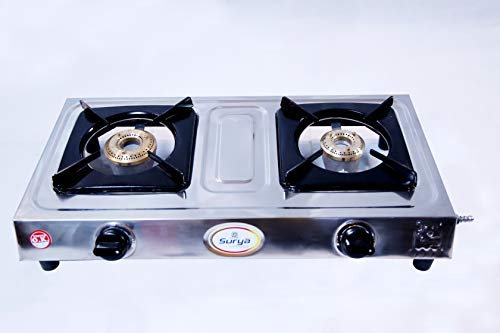 Hot Shine 2 Burner ISI Approved Gas Stove (Economy Nano, CI Burner)