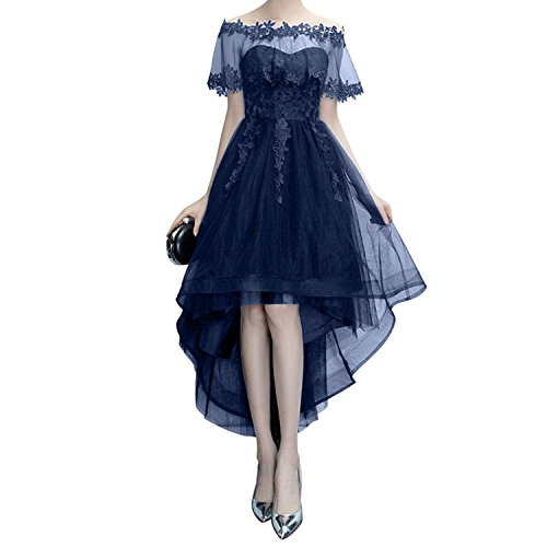 Charmant Damen Festlich Schwarz Hi-lo A-linie Abendkleider Promkleider Festlichkleider Langes Damenmode Navy Blau