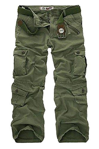 Menschwear Herren Cargo Hosen Freizeit Multi-Taschen Military pantaloni Ripstop Cargo da uomo (42,Grün)