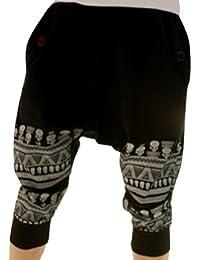 TANGDA Noir Homme Sarouel Pantalon harem 3/4 longueur Pantalon du sports-XXL