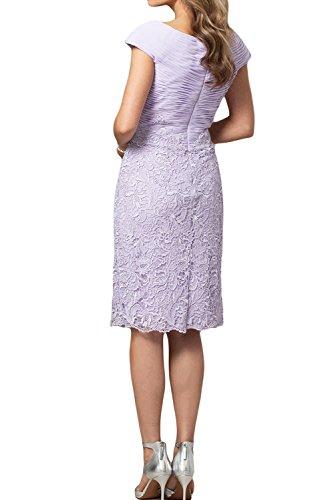 TOSKANA BRAUT Elegant Neu Damen Rundkragen mit Spitze Applikation Falte Kurz Etui Ballkleider Abendkleider Brautjungfernkleider 205142