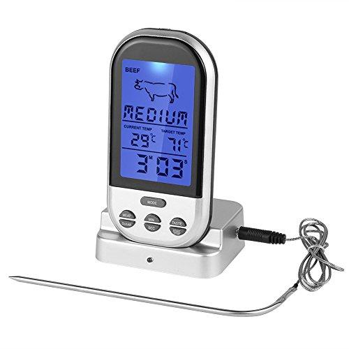 Parsion Digitales Grill-Thermometer Bratenthermometer Fleischthermometer mit Timer, ein Edelstahlsonden, Blaue Hinterbeleuchtung, Temperaturbereich bis 300°C (Thermometer Grillen)