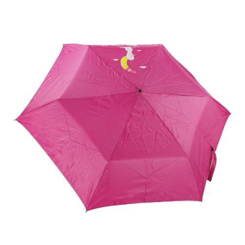 FakeFace Greenery Kaninchen Design Folding Bottle Umbrella Faltender Regenschirm UV-Schutz Sonnenschirm Outdoor Camping Taschenschirm mit Hasenohr Griff Gechenk für Kinder Mädchen Modische Damen (Rosa)