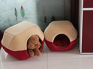 2 EN 1 Niche de Chien Maison Lit Panier avec Coussin Amovible pour Chien Chat