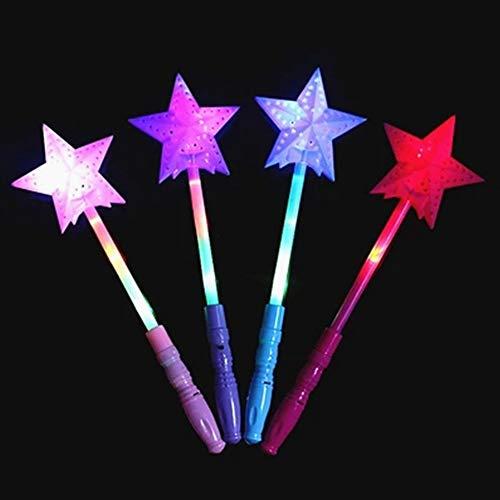 SAXTEL 10 x Magic Star Glow Sticks, hohl, LED Blinkender Stern Feenstab für Leuchtstoff-Bar Kinder Konzert-Party Gastgeschenk, Zufällige Farbe Wird geliefert, 10 Stück