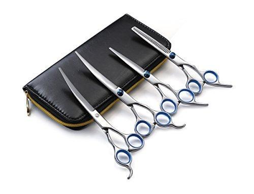 Alfheim Hundeschere, Professional 4 Stück Pet Hair Grooming Schere Set -sharp und Starke Edelstahl Klinge -