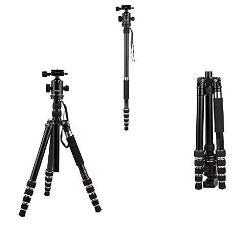 HUTACT Stativ Dslr Tragbarer Tripod für Kamera, Monopod Kit & Ball Head Kompakt für Canon, Sony, Nikon, Samsung, Panasonic, Olympus, Kodak, Fuji, Kameras und Videokamera