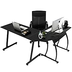 Coavas Computer-Desk Office Desk L-Shaped Wood Corner Desk Computer Workstation Large PC Gaming Desk Home-Office Table 148x112x74cm Black