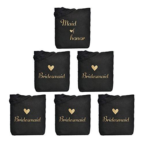 ElegantPark Maid of Honor + Bridesmaid X 5 Brautjungfern Hochzeit Schwarz Tasche Tote Geschenke Einkaufstasche 100% Braumwolle 6 Stück in Bulk