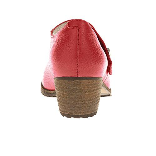 tessamino Damen Pumps aus Hirschleder, komfortabel, Weite H, für Einlagen Rot