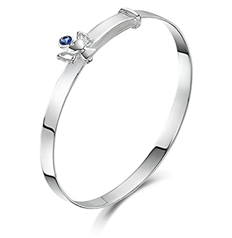 Jo for Girls Sterling Silver September Birthstone Guardian Angel Expandable Baby Bangle of 40-47mm
