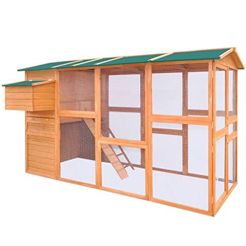 Soulong pollaio in legno, pollaio e corsa con tetto, gabbia per pollo grande in legno, con recinto, vassoio e sistema di bloccaggio, pollaio da giardino esterno per galline ovaiole, 295x163x170 cm