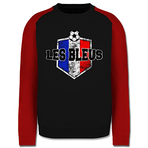 EM 2016 - Frankreich - Frankreich- Les Bleus Vintage - Herren Baseball Pullover Schwarz/Rot