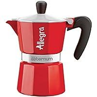 Bialetti Allegra Cafetière à expresso une tasse avec bandeau en aluminium, Rouge, 13x 7x 12cm