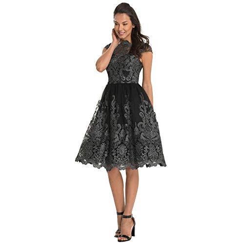 Sasstaids Sommer heißes Kleid,Mode Frauen Spitze Stickerei Blumen Prom Formale Abend Party Brautjungfer Ballkleider Kleid Durchbrochenes Spitzenkleid -