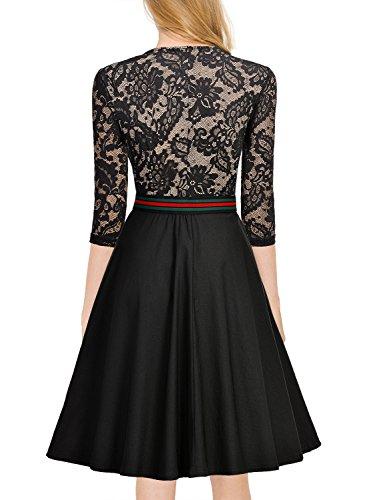 Miusol Elegant Spitzenkleid Abendkleid Reissverschluss vorne Knielang Cocktailkleid - 2