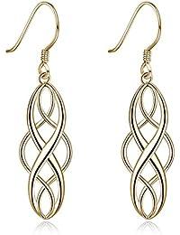 584b032a747f Reiko S925 Pendientes de plata con nudo celta gota colgante Twist Wave  símbolo de inifity Orejas