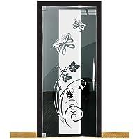 DD Dotzler Design 2111-7 Milchglasfolie Tür Aufkleber Fenster Fensterfolie Motiv Schmetterlinge Blumen Dusche
