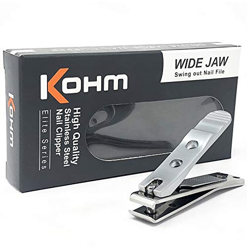 Kohm WHS-448L Heavy Duty, Straight Blade, Large Wide Jaw Toenail Clippers  for Thick, Fungal or Diabetic Toenails for Men, Seniors, Adults