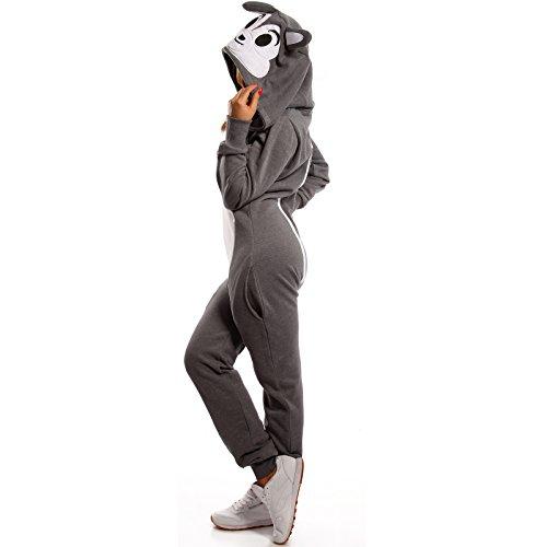 Crazy Age Koala Jumpsuit Tierkostüm Bärenkostüm (Anthrazit/Weiß, L=40)