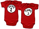 Thing 1 and Thing 2 babygrow onesie red 0-3 months