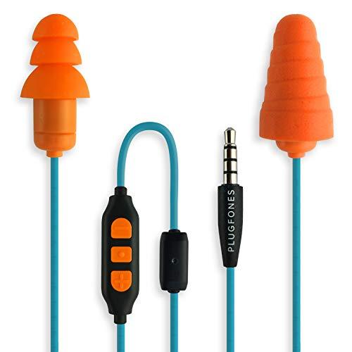 """PlugFones, Ohrstöpsel der \""""In Guardian\""""-Serie mit eingebauten Ohrhörern, aus Schaumstoff und Silikon, orange"""