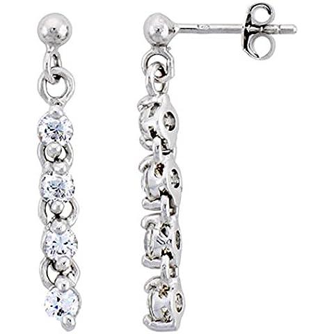 Revoni-Bracciale in argento Sterling, motivo: orecchini pendenti, con Zirconia cubica, rotondo, 1 1/20,32 (8 mm (28