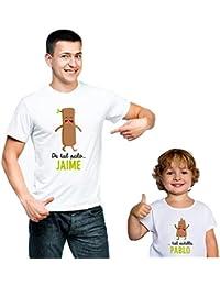 Calledelregalo Pack Personalizado de Camiseta para Padre + Body o Camiseta para Hijo/a