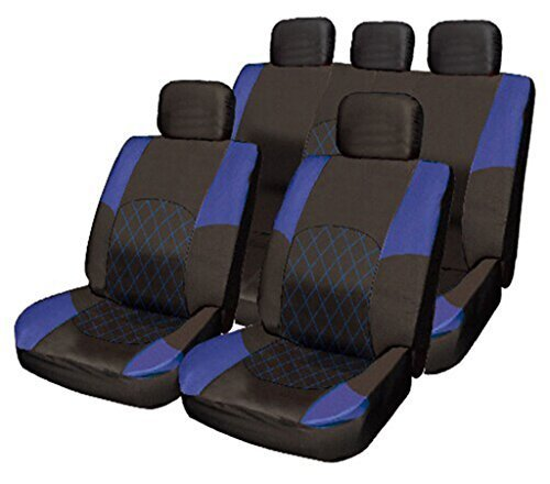 Wheels N Bits Cloth Seat Cover Set Split Rear Blue 14 Blue & Black Cloth Seat Cover Set Split Rear Seat