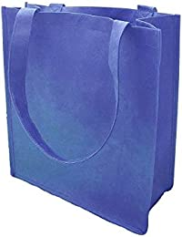 Reusable Grocery Shopping Bags W/Gusset Recyclable Non-Woven Large Wide Mouth (25, Royal)